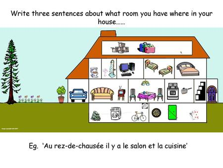 Write three sentences about what room you have where in your house……
