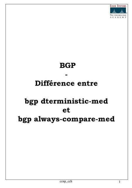 bgp always-compare-med