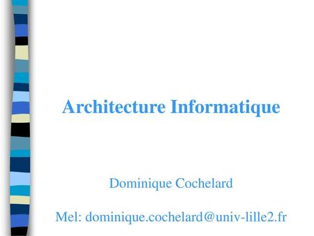 Architecture Informatique