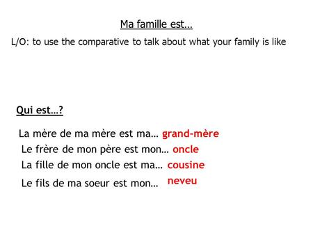 Ma famille est… L/O: to use the comparative to talk about what your family is like Qui est…? La mère de ma mère est ma… Le frère de mon père est mon… La.