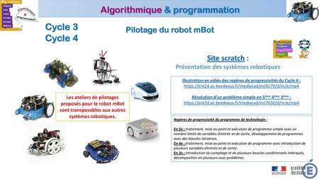 Cycle 3 Cycle 4 Pilotage du robot mBot Site scratch :
