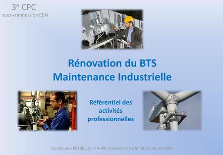 Rénovation du BTS Maintenance Industrielle