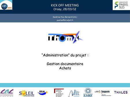 """Administration"" du projet : Gestion documentaire Achats"