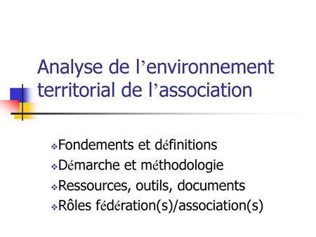 Analyse de l'environnement territorial de l'association