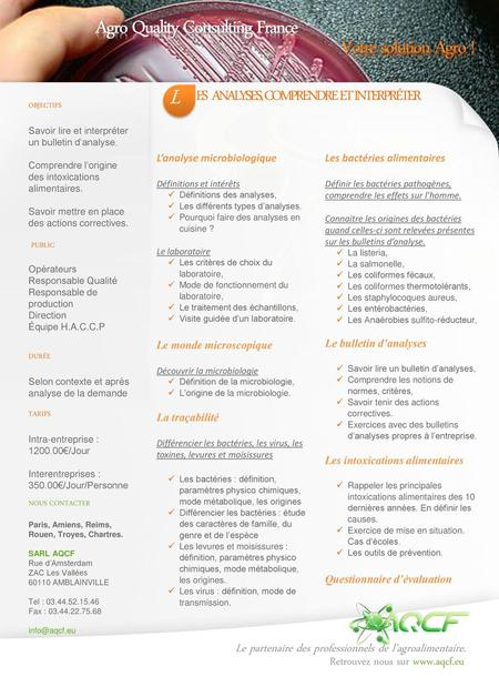L Agro Quality Consulting France Votre solution Agro !