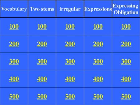 Vocabulary Two stems irregular Expressions Expressing Obligation 100