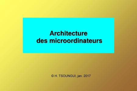 Architecture des microordinateurs