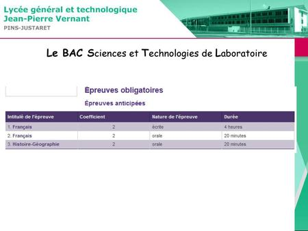 Le BAC Sciences et Technologies de Laboratoire