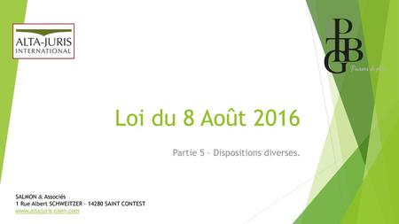 Partie 5 – Dispositions diverses.