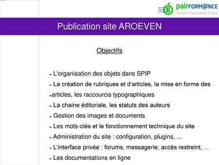 Publication site AROEVEN