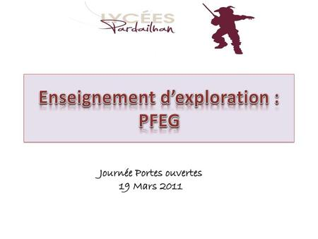 Enseignement d'exploration : PFEG