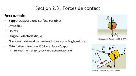 Section 2.3 : Forces de contact