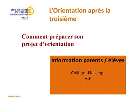 Information parents / élèves