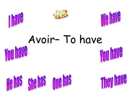 Avoir– To have We have I have You have You have One has They have