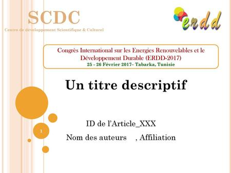 SCDC Un titre descriptif ID de l'Article_XXX