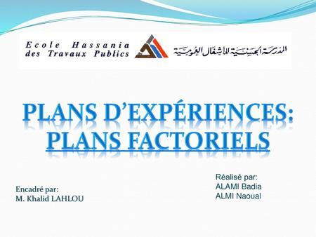 Plans d'expériences: Plans factoriels