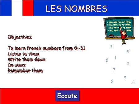 LES NOMBRES Ecoute Objectives To learn french numbers from 0 -31