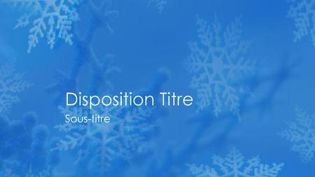 Disposition Titre Sous-titre.