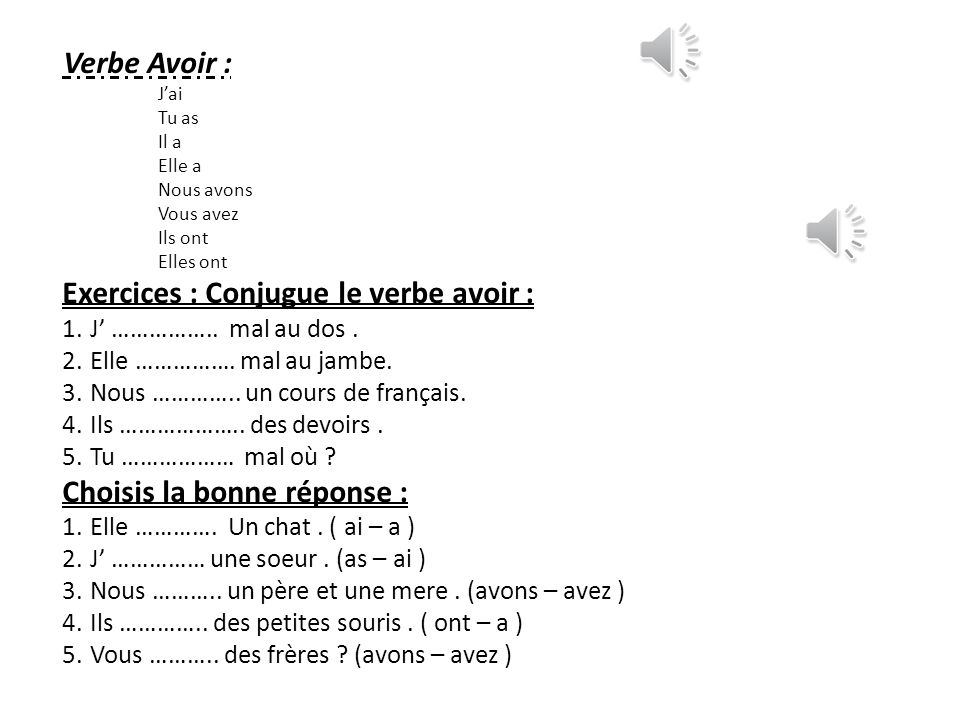 Exercices Conjugue Le Verbe Avoir Ppt Telecharger