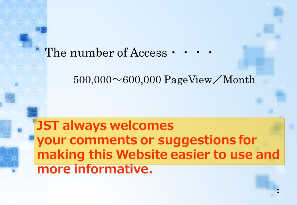 The number of Access・・・・