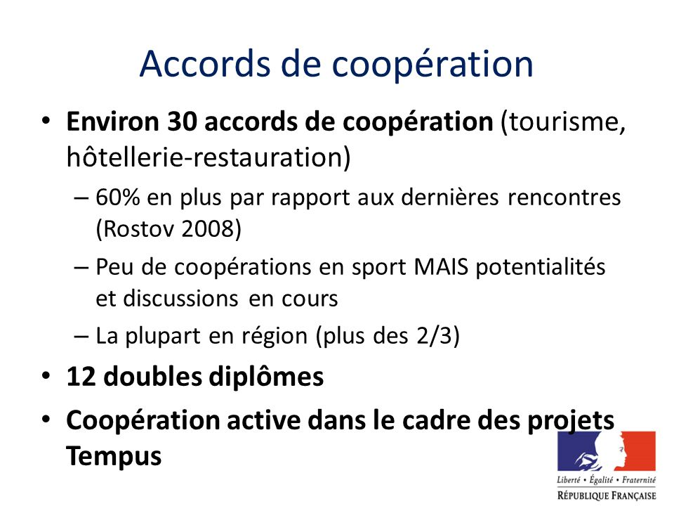 Accords de coopération