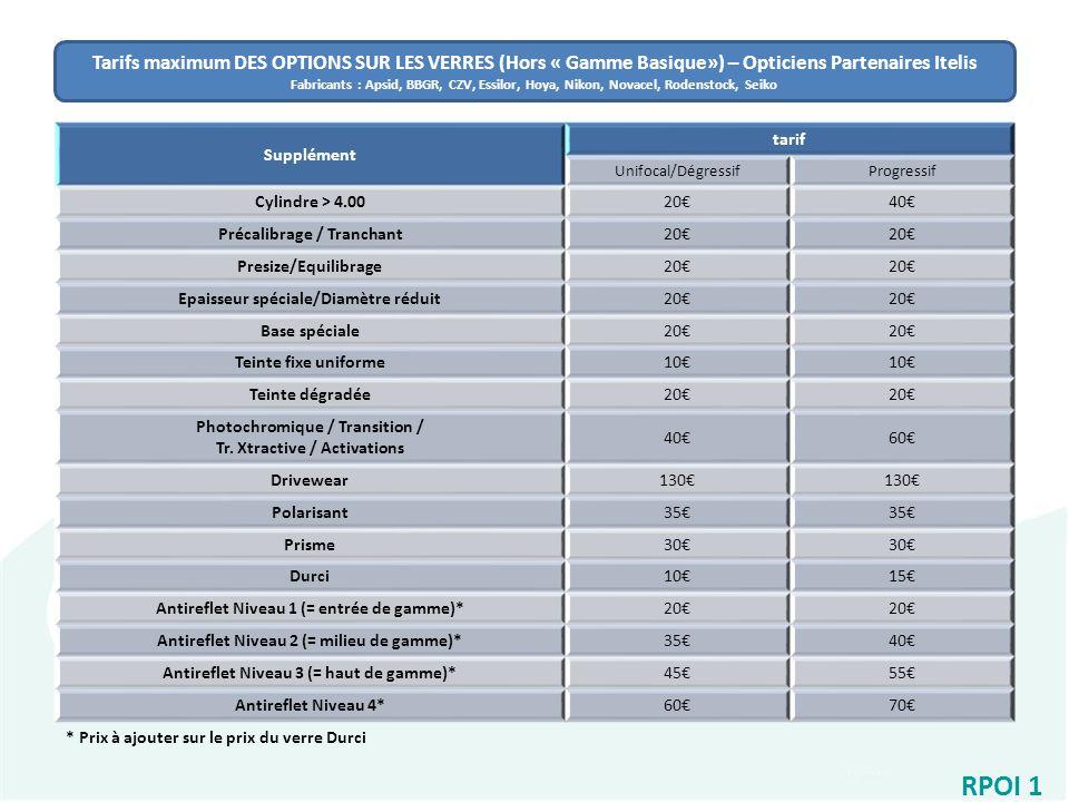 64e349614a Tarifs maximum DES OPTIONS SUR LES VERRES (Hors « Gamme Basique») –  Opticiens