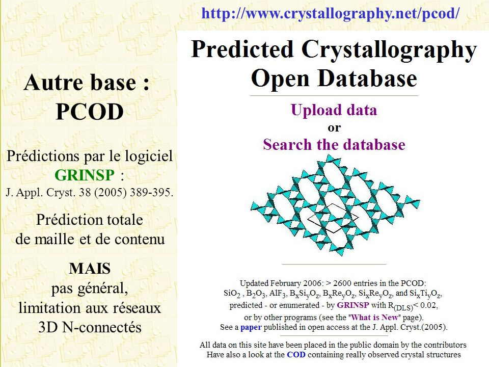 Autre base : PCOD http://www.crystallography.net/pcod/