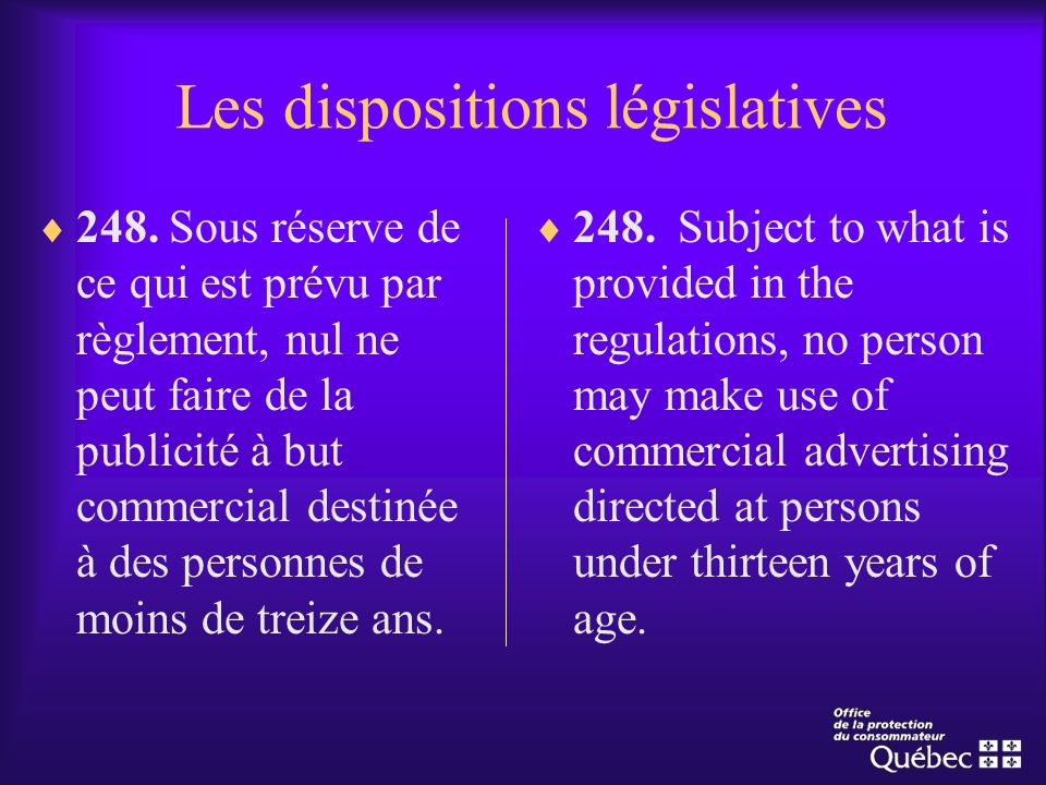 Les dispositions législatives