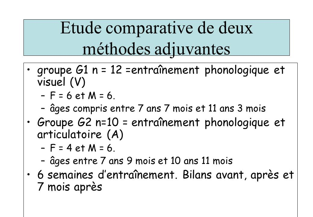Etude comparative de deux méthodes adjuvantes