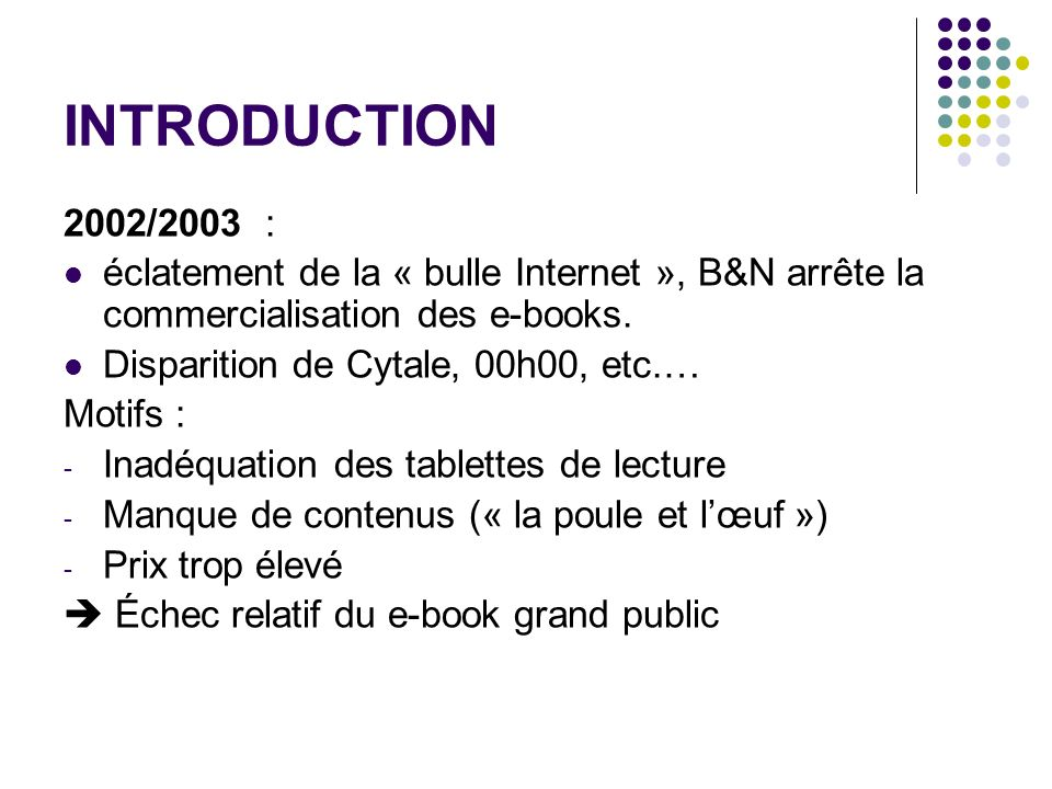 INTRODUCTION 2002/2003 : éclatement de la « bulle Internet », B&N arrête la commercialisation des e-books.