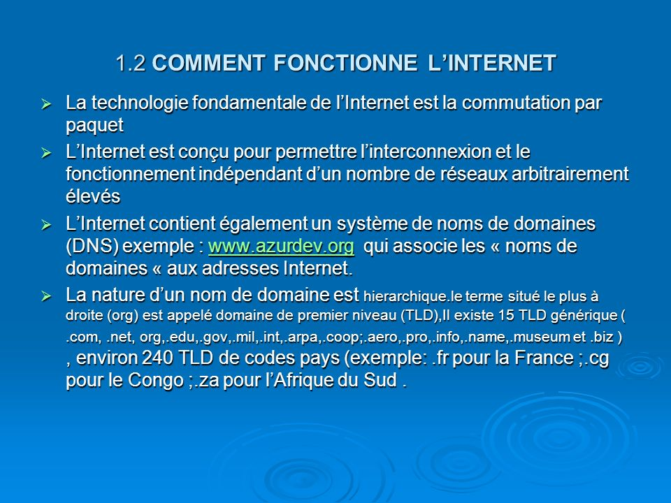 1.2 COMMENT FONCTIONNE L'INTERNET