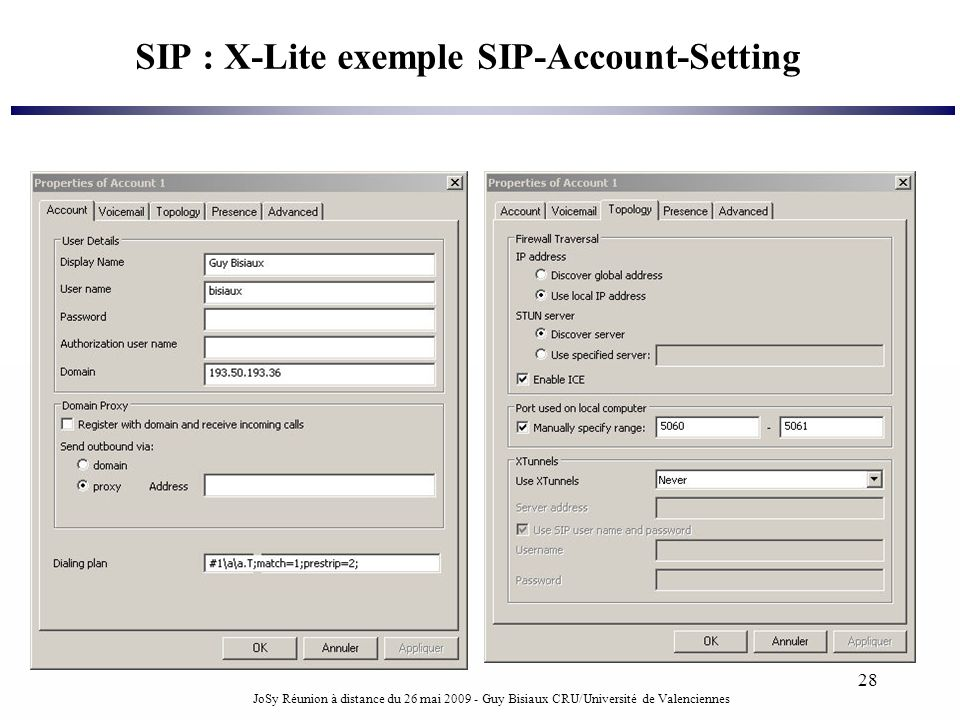 SIP : X-Lite exemple SIP-Account-Setting
