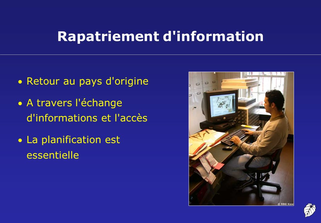 Rapatriement d information