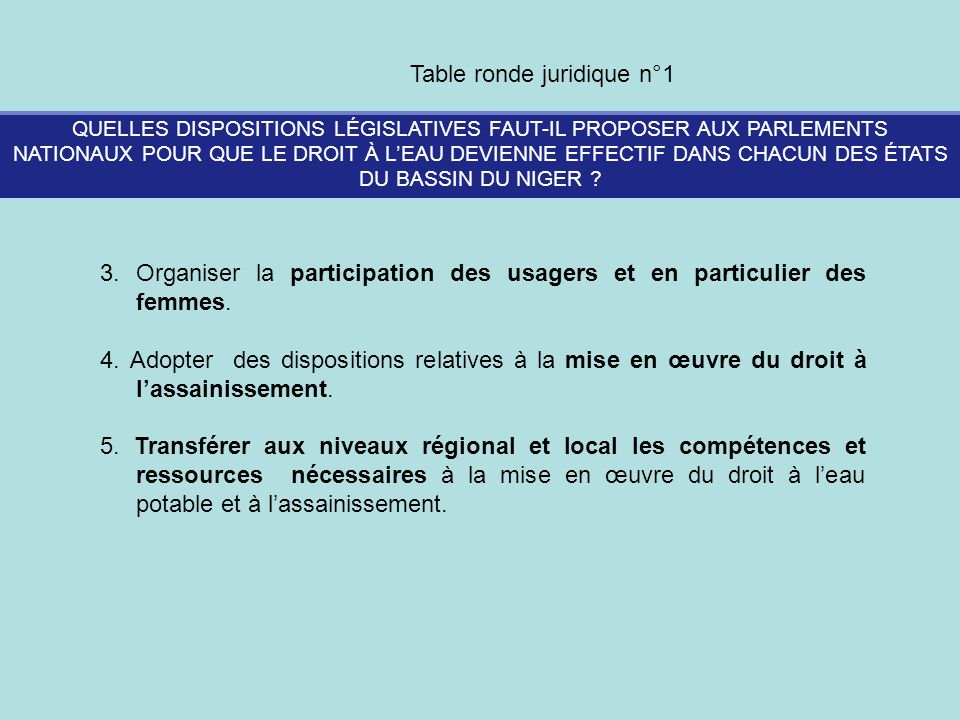 Table ronde juridique n°1