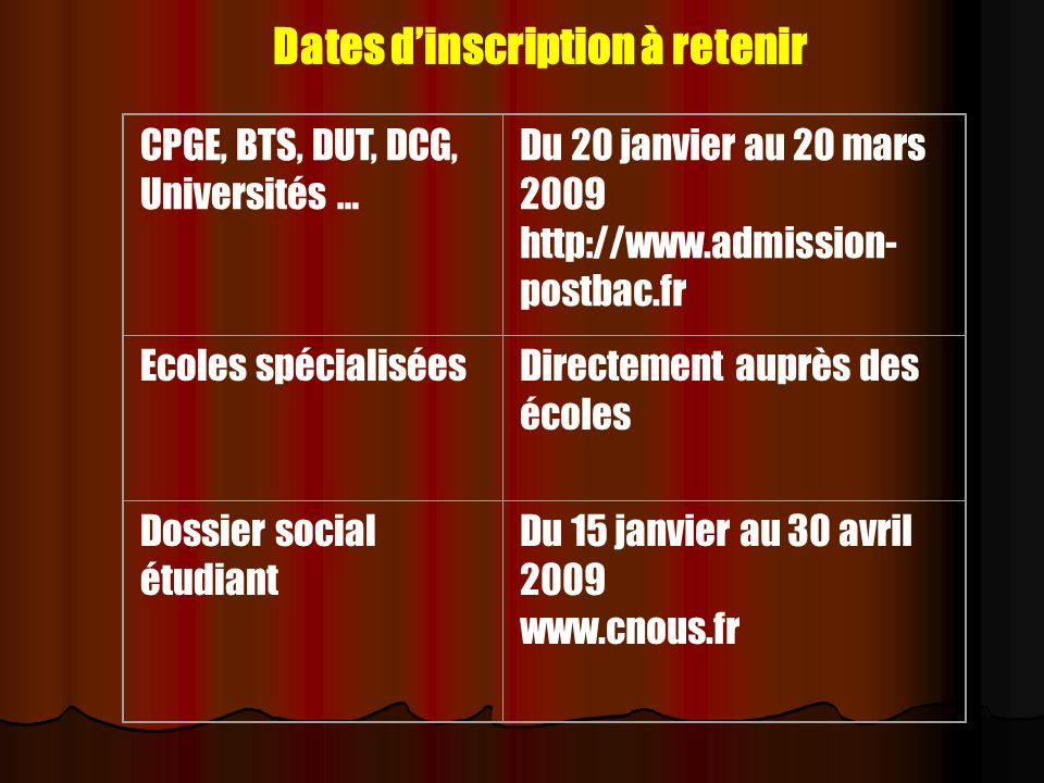 Dates d'inscription à retenir