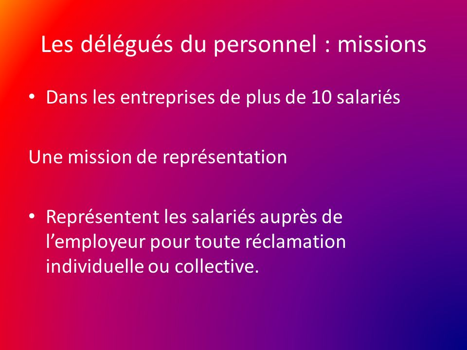 Les Representants Du Personnel La Representation Salariale La
