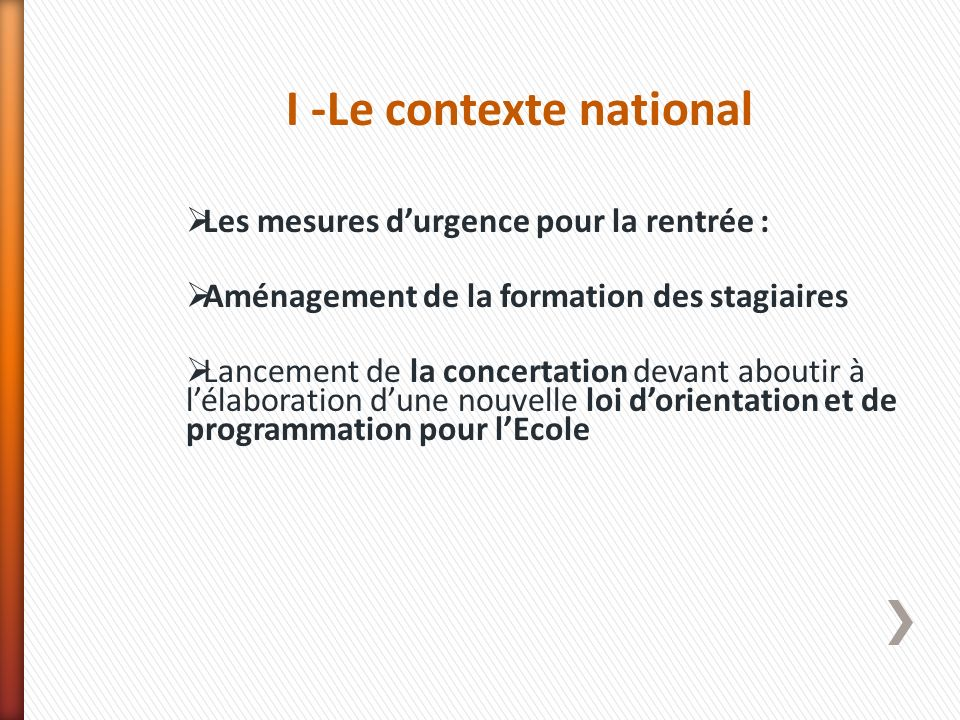 I -Le contexte national