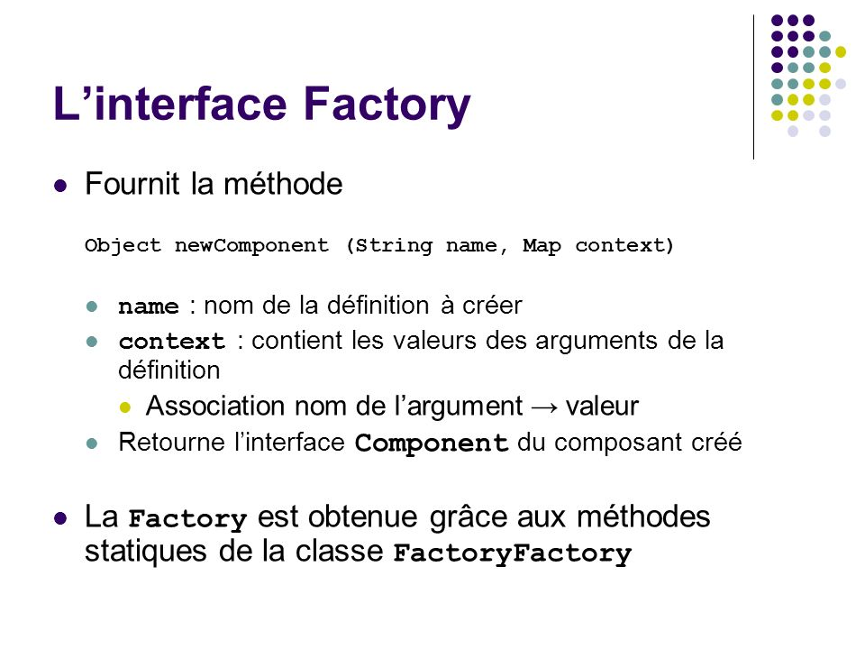L'interface Factory Fournit la méthode