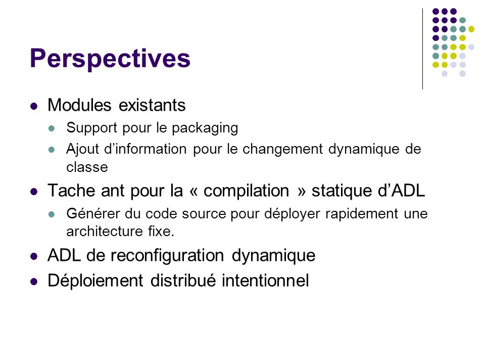 Perspectives Modules existants