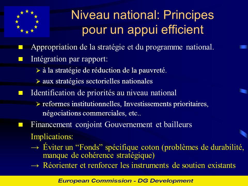 Niveau national: Principes pour un appui efficient