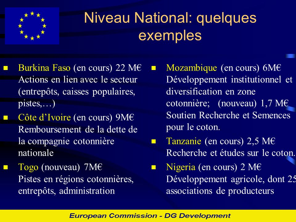 Niveau National: quelques exemples