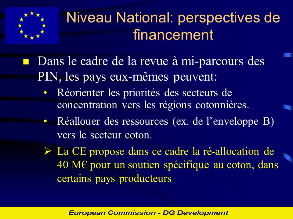 Niveau National: perspectives de financement