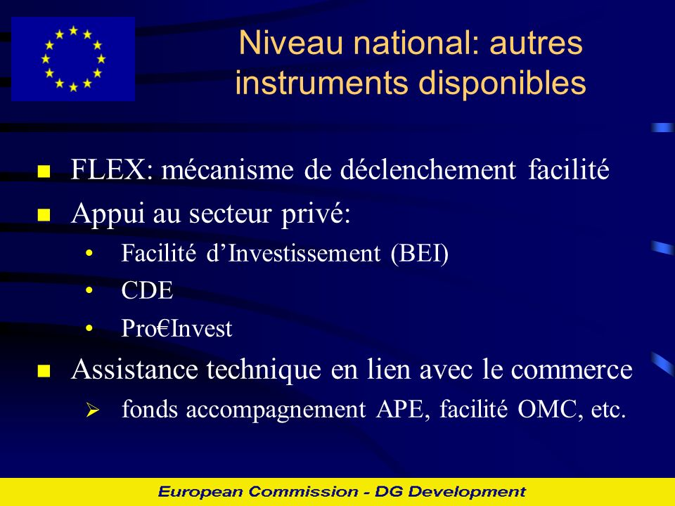 Niveau national: autres instruments disponibles