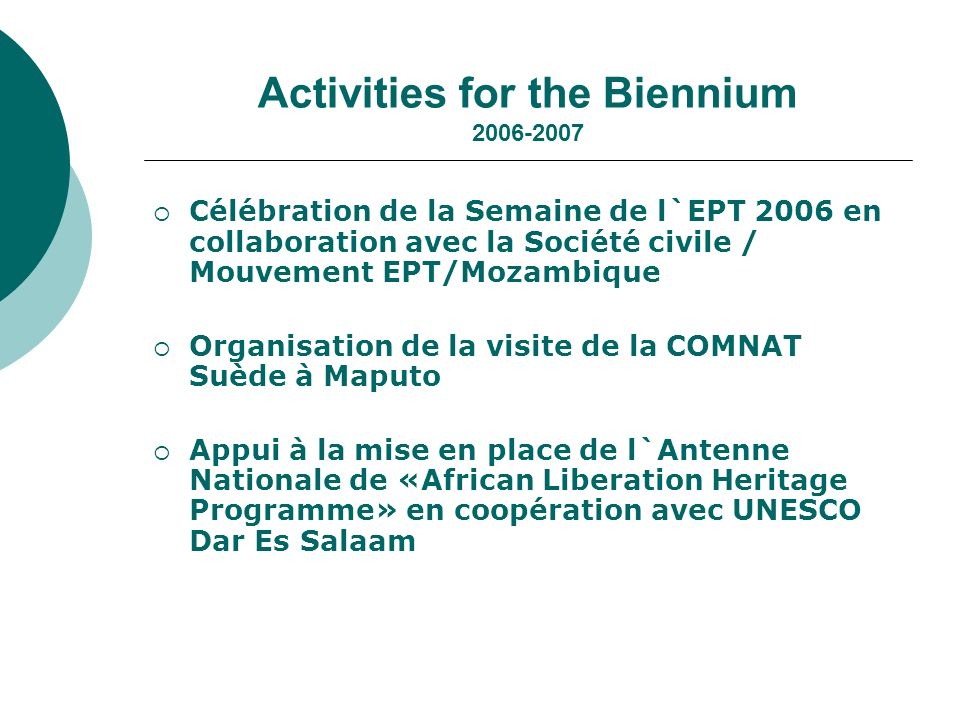 Activities for the Biennium