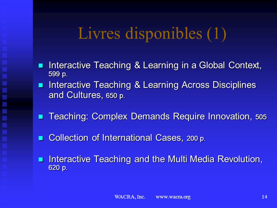 Livres disponibles (1) Interactive Teaching & Learning in a Global Context, 599 p.