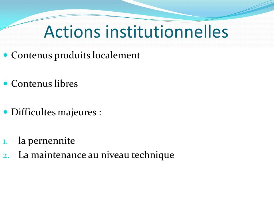 Actions institutionnelles