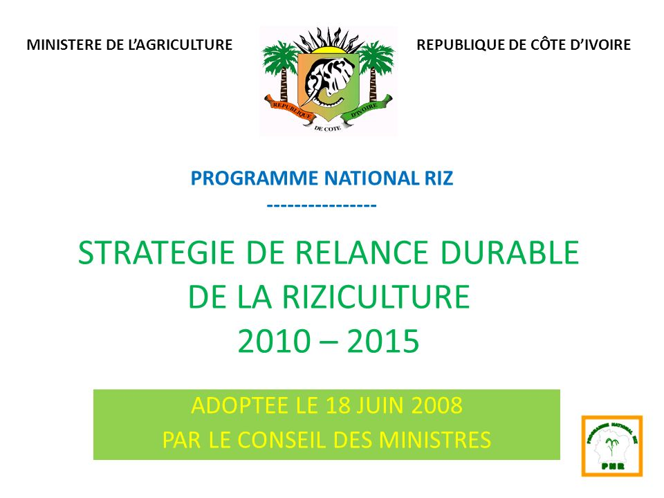 STRATEGIE DE RELANCE DURABLE DE LA RIZICULTURE 2010 – 2015