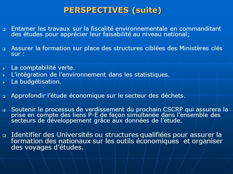 PERSPECTIVES (suite)