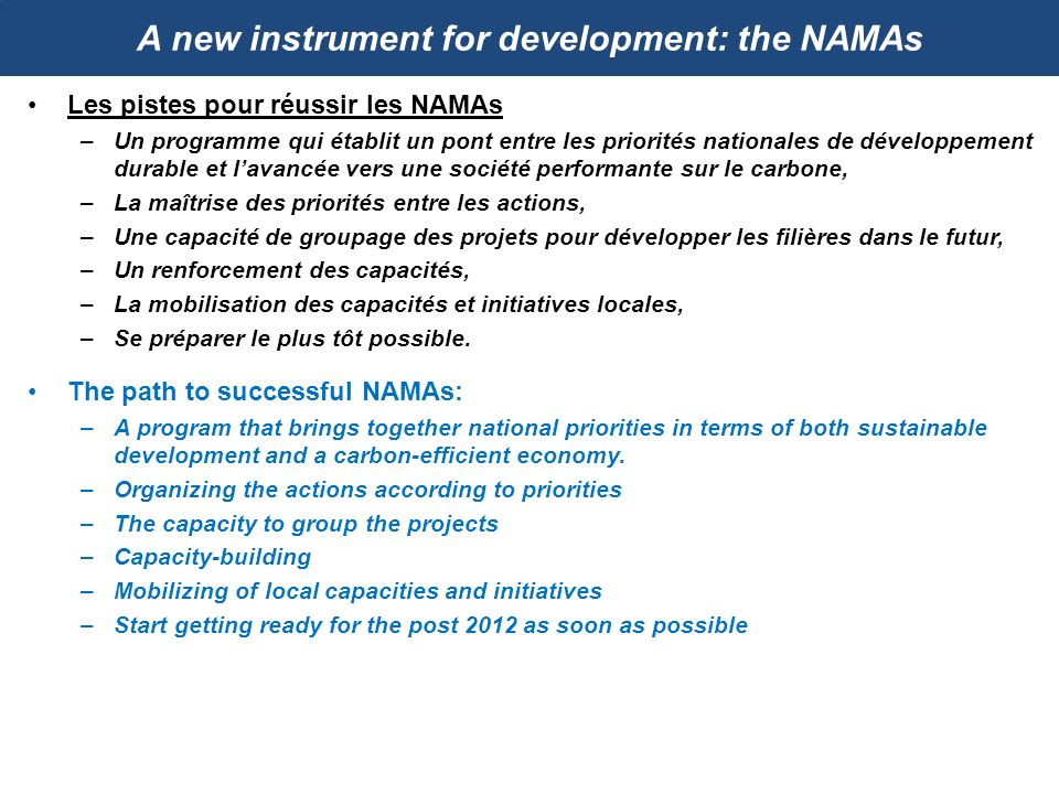 A new instrument for development: the NAMAs