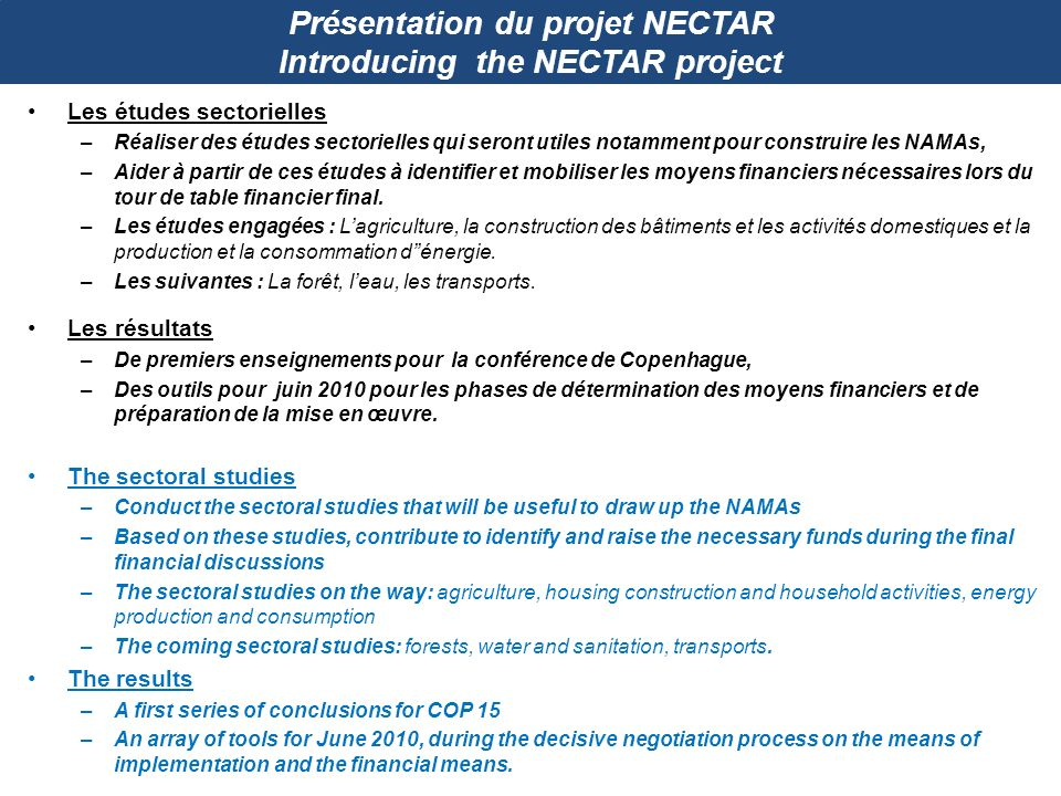 Présentation du projet NECTAR Introducing the NECTAR project